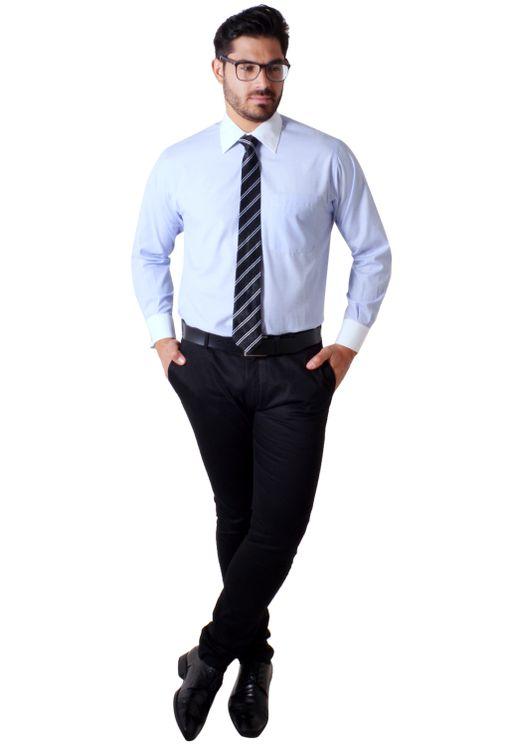 Camisa social masculina tradicional abotoadura azul claro f01594a