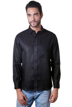 Camisa-casual-masculina-tradicional-linho-preto-f03943a-1