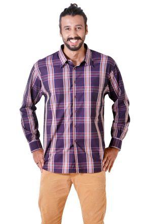 Camisa-casual-masculina-tradicional-algodao-fio-50-roxo-f03225a-1