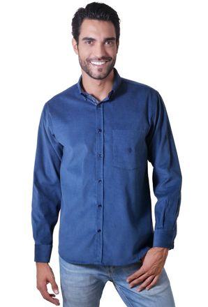 Camisa-casual-masculina-tradicional-veludo-azul-medio-f01517a-1