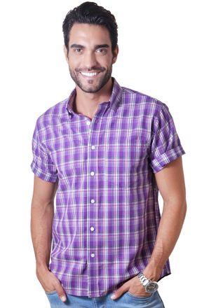 Camisa-casual-masculina-tradicional-algodao-fio-40-roxo-f05541a-1