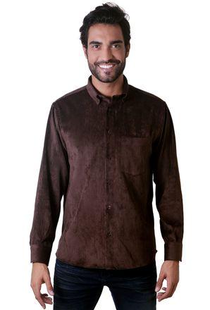 Camisa-casual-masculina-tradicional-veludo-molhado-marrom-f05691a-1