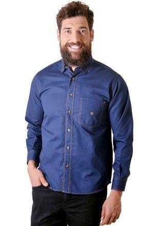 Camisa-casual-masculina-tradicional-sarjada-azul-escuro-f01679a-1