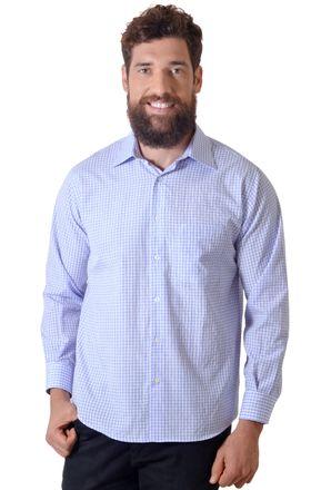 Camisa-casual-masculina-tradicional-algodao-azul-escuro-f05695a-1