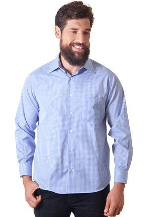 Camisa-casual-masculina-tradicional-algodao-azul-escuro-f05698a-1