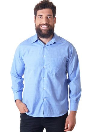 Camisa-casual-masculina-tradicional-algodao-azul-f05698a-1