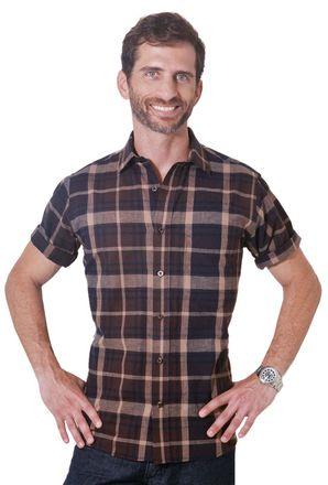 Camisa-casual-masculina-tradicional-algodao-fio-40-marrom-f05527a-1