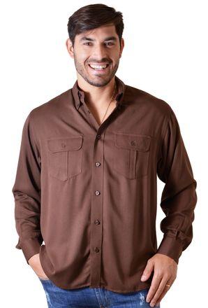Camisa-casual-masculina-tradicional-viscose-marrom-f00481a-1