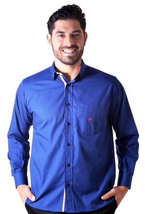 Camisa-casual-masculina-tradicional-algodao-azul-escuro-f01755a-1