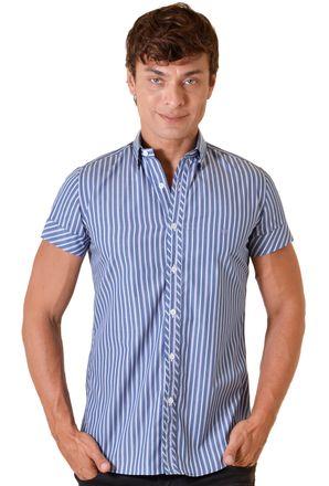 Camisa-casual-masculina-slimfit-algodao-fio-80-azul-f11428f-1