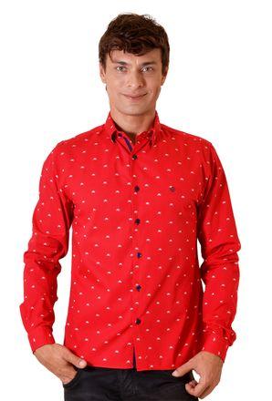 Camisa-casual-masculina-slim-algodao-fio-60-vermelho-f01528s-1