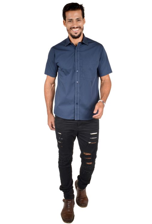 Camisa-casual-masculina-tradicional-algodao-fio-60-azul-escuro-f01272a-4