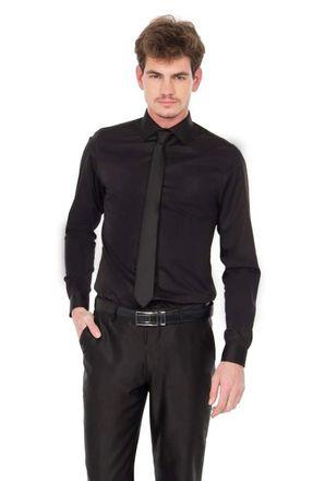 Camisa-social-masculina-slim-algodao-fio-80-preto-f05424s-frente