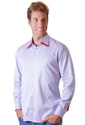 Camisa-casual-masculina-tradicional-algodao-fio-80-vermelho-f00541a-frente