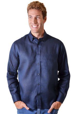 Camisa-casual-masculina-tradicional-linho-azul-escuro-f03943a-frente