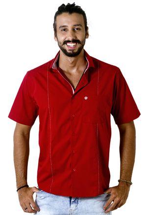 Camisa-casual-masculina-tradicional-algodao-fio-60-vermelho-f01145a-frente
