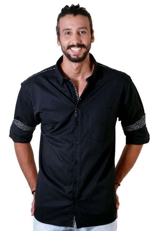 Camisa-casual-masculina-tradicional-algodao-fio-50-preto-f01308a-frente