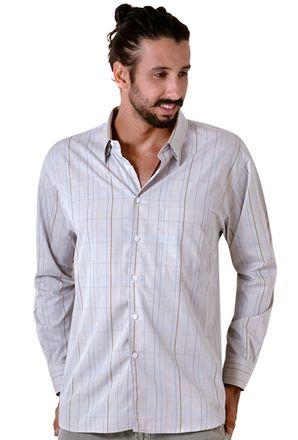 Camisa-casual-masculina-tradicional-algodao-fio-50-marrom-f01506a-frente