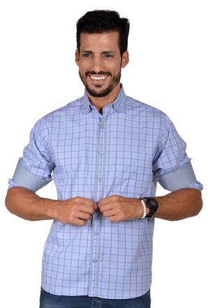 Camisa-casual-masculina-tradicional-algodao-fio-50-azul-f01412a-frente