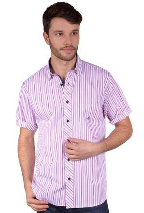 Camisa-casual-masculina-tradicional-algodao-fio-60-rosa-f01275a-frente