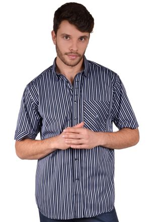 Camisa-casual-masculina-tradicional-algodao-fio-80-preto-f01421a-frente