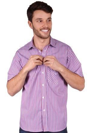Camisa-casual-masculina-tradicional-algodao-fio-80-roxo-f01421a-frente