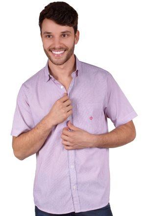 Camisa-casual-masculina-tradicional-algodao-fio-60-vermelho-f01453a-frente
