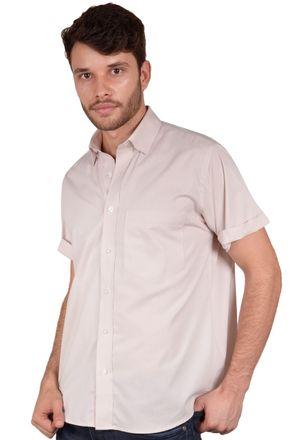Camisa-casual-masculina-tradicional-algodao-fio-40-bege-r09903a-frente