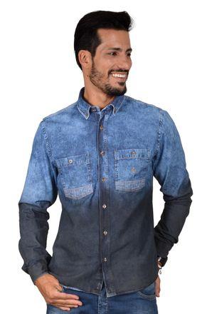 Camisa-casual-masculina-tradicional-jeans-preto-f01820a-frente