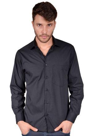 Camisa-casual-masculina-tradicional-algodao-misto-preto-r09993a-frente