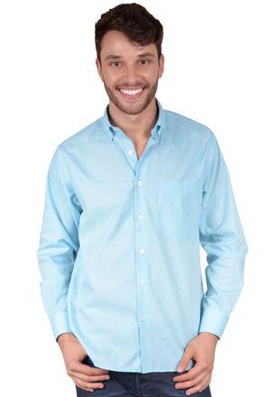 Camisa-casual-masculina-tradicional-algodao-misto-azul-claro-r09993a-frente