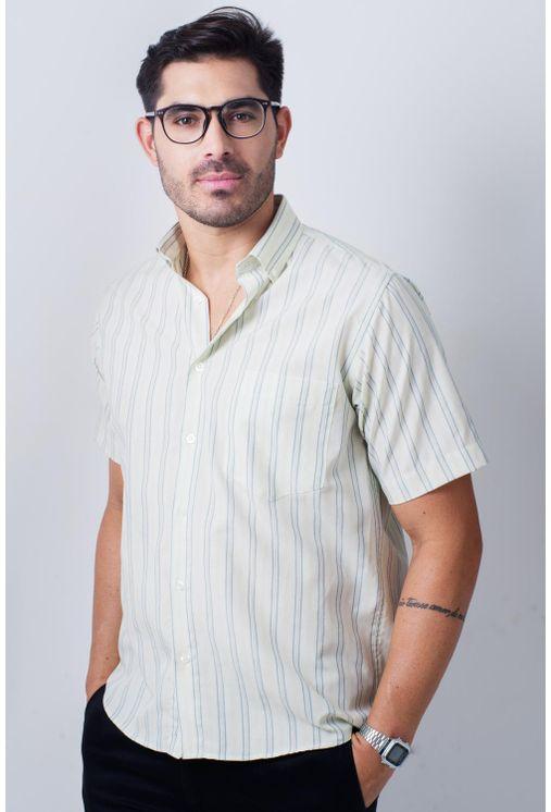 Camisa-casual-masculina-tradicional-algodao-misto-verde-f07034a-frente