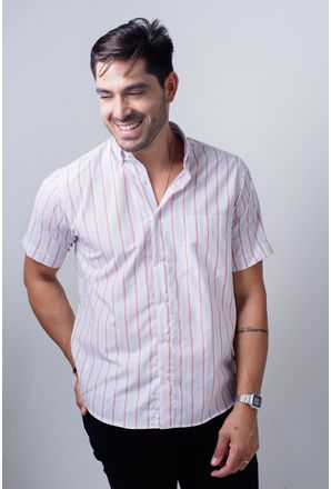 Camisa-casual-masculina-tradicional-algodao-misto-laranja-f07034a-frente