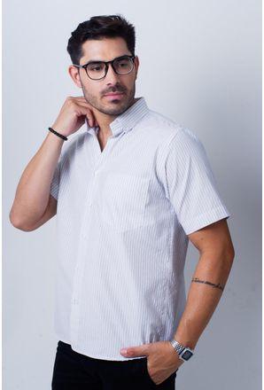 Camisa-casual-masculina-tradicional-algodao-misto-cinza-f07034a-frente