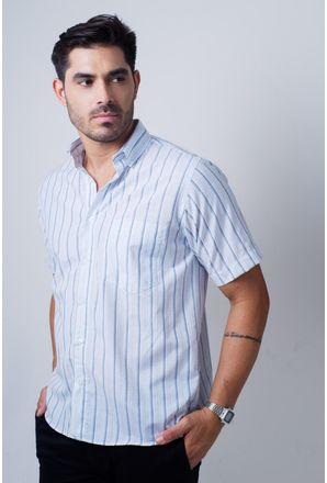 Camisa-casual-masculina-tradicional-algodao-misto-azul-claro-f07034a-frente