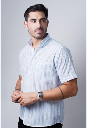 Camisa-casual-masculina-tradicional-algodao-misto-azul-medio-f07034a-frente