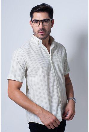 Camisa-casual-masculina-tradicional-algodao-misto-amarelo-f07034a-frente