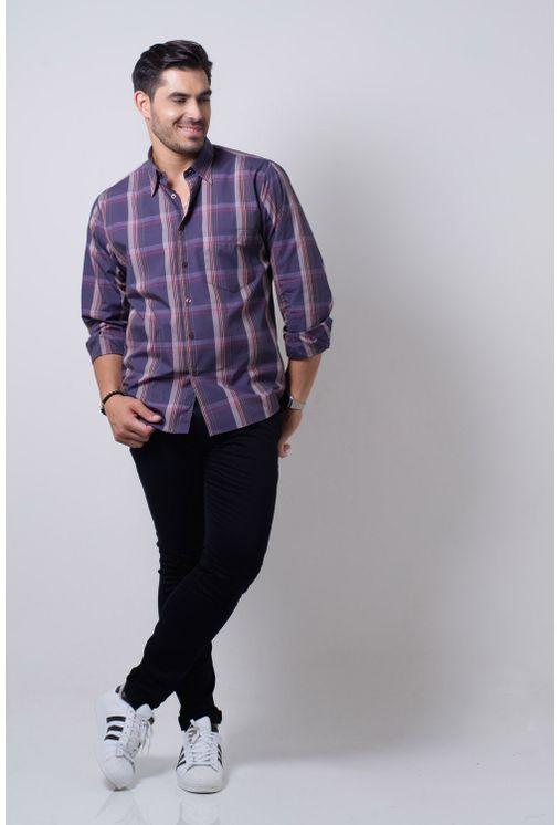 Camisa-casual-masculina-tradicional-algodi¿½o-fio-50-lili¿½s-f01668a-frente