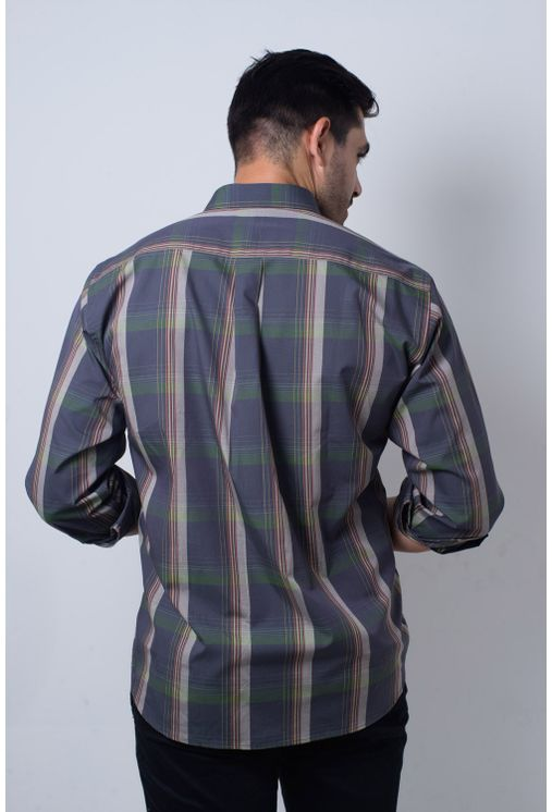 Camisa-casual-masculina-tradicional-algodi¿½o-fio-50-verde-f01668a-verso