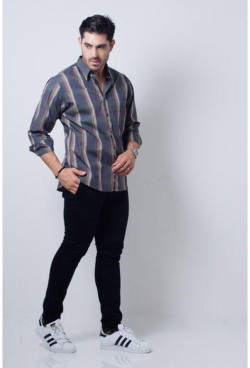 Camisa-casual-masculina-tradicional-algodi¿½o-fio-50-verde-f01668a-detalhe2