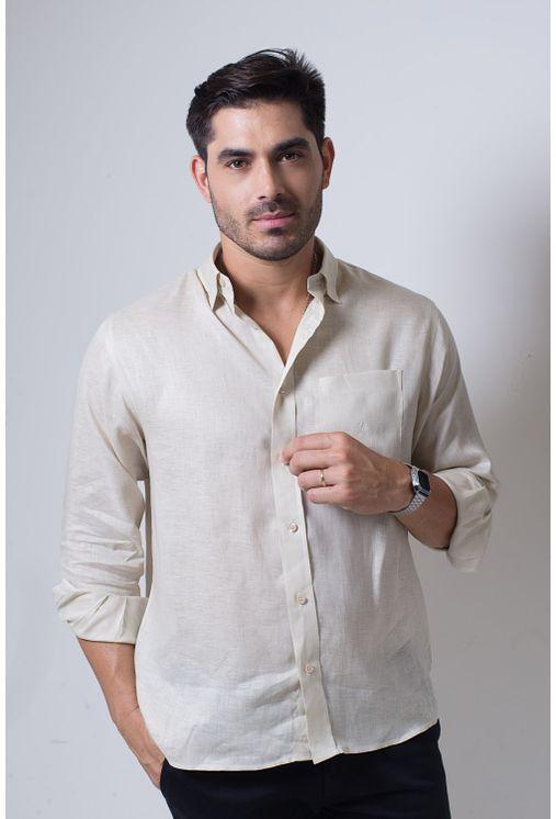 Camisa-casual-masculina-puro-linho-tradicional-bege-f03943a-frente