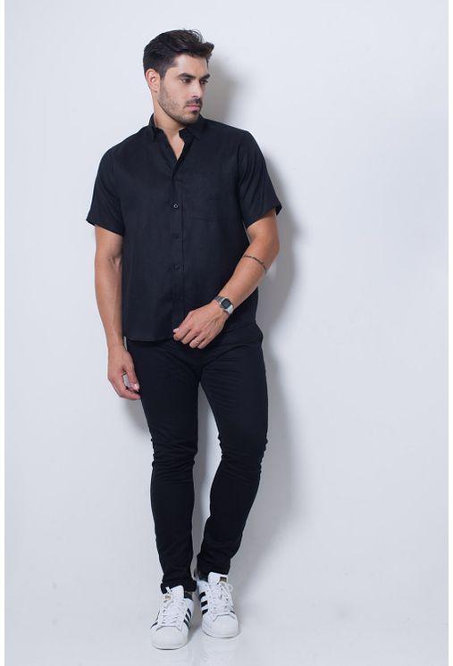 Camisa-casual-masculina-tradicional-linho-preto-f03943a-detalhe2