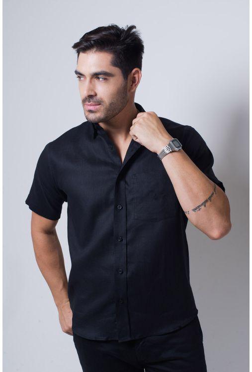 Camisa-casual-masculina-tradicional-linho-preto-f03943a-frente