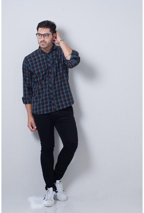 Camisa-casual-masculina-tradicional-flanela-laranja-f01833a-detalhe2