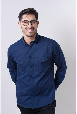 Camisa-casual-masculina-tradicional-sarjada-azul-escuro-f01695a-frente