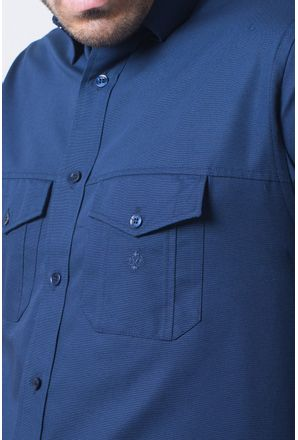 Camisa-casual-masculina-tradicional-sarjada-azul-escuro-f01695a-detalhe1