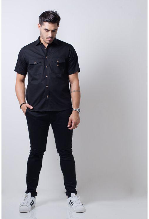 Camisa-casual-masculina-tradicional-sarjada-preto-f01678a-frente