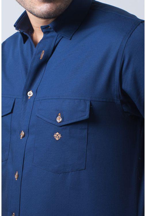 Camisa-casual-masculina-tradicional-sarjada-azul-escuro-f01681a-frente