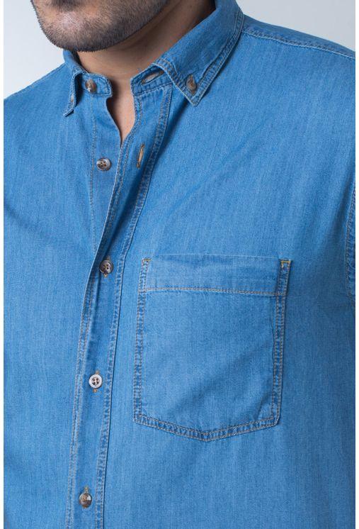 Camisa-casual-masculina-tradicional-jeans-azul-mi¿½dio-f18845a-frente