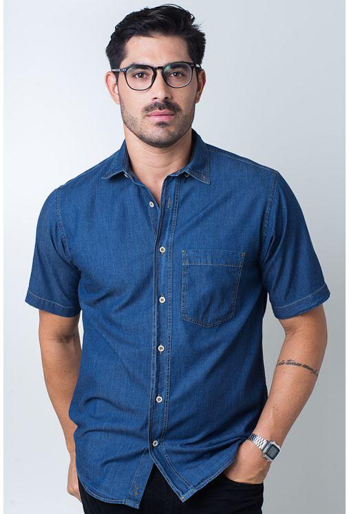 Camisa-casual-masculina-tradicional-jeans-azul-escuro-f18845a-frente
